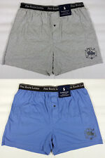 2 POLO RALPH LAUREN Classic Cotton Knit Boxer Shorts Underwear Mens S Blue /Gray