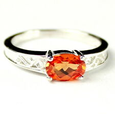 Created Padparadsha Sapphire, 925 Sterling Silver Ladies Ring, SR362-Handmade