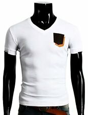 125D-WHITE-S Doublju Mens V-Neck T-shirts W/ Contrast Pocket WHITE (US-XS)