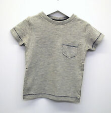 Baby Boys Ex Next T-Shirt Top Soft Cotton Navy Stitch Grey Age 3 to 24 Months