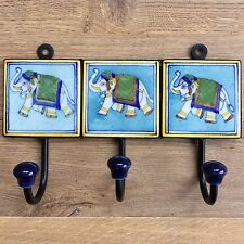 Indian Ceramic Tile Coat Robe Hook - Turquoise with Elephant and Yellow Border