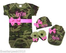 Personalized Baby Girl Hot Pink & Camouflage Onezee Hat Bib Booties Set Fre Shp