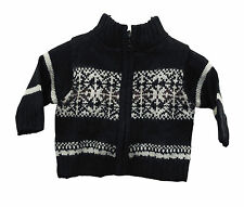 Baby Boys Ex Adams Chunky Thick Knit Zip Up Jumper Black Age 3 to 24 Months Kids