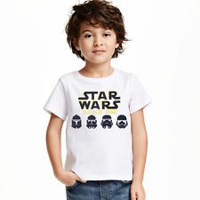 Kids Boys Girls Star Wars Letters Cotton Summer Tops T Shirts Casual Basic Tees