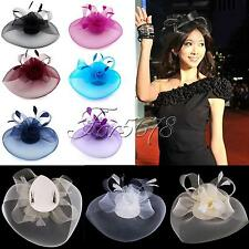 1 Fashion Woman Fascinator Veil Net Hat Topper Clip Cones Feathers Wedding Races