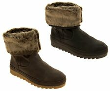 Womens Brown JANA Leather Effect Faux Fur Lined Warm Winter Ankle Boots Size 7