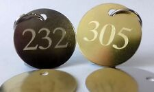 Engraved large HOTEL KEY FOB RING TAG NUMBER - B&B Guest House Brass Steel Room