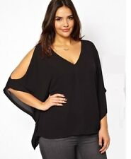 Lady Summer V-neck Batwing Sleeve Off Shoulder Sexy Chiffon Shirt Tops Plus Size