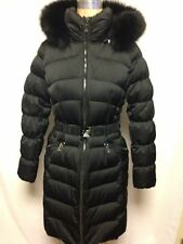 Diane Von Furstenberg Claudia Fur Trim Hooded Puffer Coat  Black  NWT Authentic