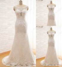Scoop With Appliques And Crystal Beading Wedding Dresses Bridal Gow  Long Mermai