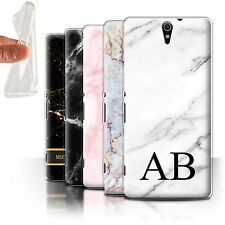 Personalised Marble Gel/TPU Case for Sony Xperia C5 Ultra/Name/Initial DIY Cover
