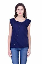 Women Poly Crepe Top Tunic Button Down Casual Top Sleeveless Top all size Blouse