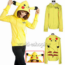Womens Pikachu Zip Hoodies Coat Jacket Cosplay Ears Face Tail Sweatshirt Outwear