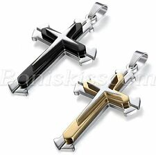 Stainless Steel Silver Black/Gold Tone Cross Pendant Necklace Gift Men's Jewelry