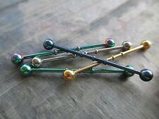 "Green Bamboo Surgical Steel Barbell Industrial Scaffold Piercing 14G 1-1/2"" 38mm"