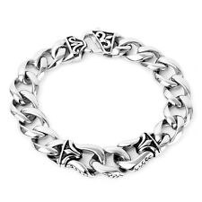 Felix Perry Men Chain Link Stainless Steel Silver High Polished Bracelet 8.66 In