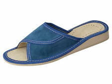 Womens Suede Leather Slippers Mules Slip On Open Toe Shoes, Blue FP475