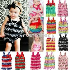 Toddler Baby Girls Spaghetti Romper Dress Infant Lace Ruffle Jumpsuit Outfits