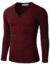 Doublju Mens Henley T-shirts W/ Button Placket - Choose SZ/Color
