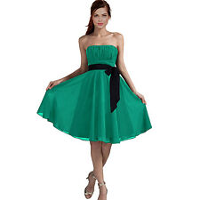 Sexy A-Line Strapless Chiffon Formal Bridesmaid Cocktail Party Dress Turquoise