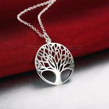 TREE OF LIFE Pendant Necklace Vintage Style Silver Plated Chain Fashion Jewelry