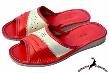 Womens Genuine Leather Handmade Summer Ladies House Slippers Shoes Sandal Comfy