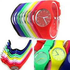 Jelly Dial Analog  Soft Silicone Band Geneva Wrist Watch Quartz Sports