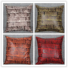 """Vintage Brick Pattern Suede Pillow Case Protector Cushion Cover Sofa Throw 18"""""""