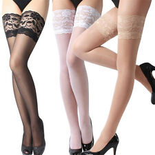 Sexy Womens Lace Top Stay Up Stockings Thigh High Pantyhose Hold-up Tights