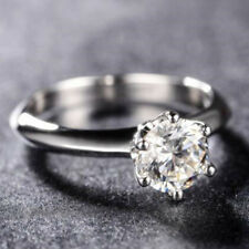 1.5CT Sona Simulated Diamond 925 Silver Ring Women's Wedding Ring 6 Prong Round