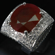 GORGEOUS!!!TOP BLOOD RED RUBY SAPPHIRE REAL 925 STERLING SILVER RING