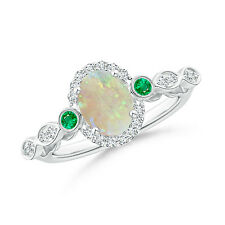 Vintage Style Oval Opal Diamond Halo Ring with Emerald 14k White Gold Size 3-13