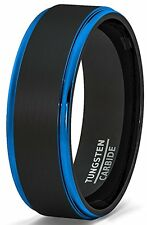 Mens Wedding Band Two Tone Brushed Black Tungsten Ring 8mm Blue Step Edge New