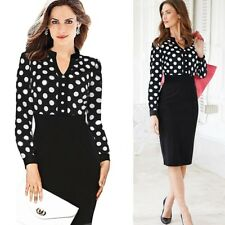 New Womens Summer Elegant Vintage Polka Dot Casual Work Office Pencil Dress 2850