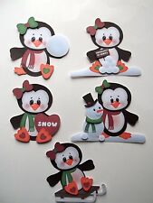3D - U Pick - Wi3 Winter Penguin Snowman Ski Sled  Scrapbook Card Embellishment