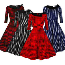 Vintage Retro Polka Dot Swing 50s 1950s Pinup Rockabilly Housewife Party Dress