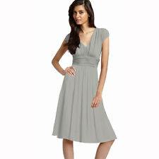 Ruched Cap Sleeves Chiffon Cocktail Evening Dress Prom Party Wear Pearl Grey