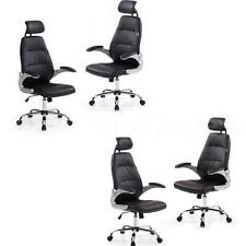 1/2 Computer Executive Office Chair PU Leather Swivel High Back Brown/Black T4U9