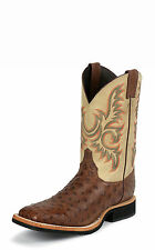 Justin Mens Antique Brown Full Quill Ostrich Western Boots AQHA Remuda