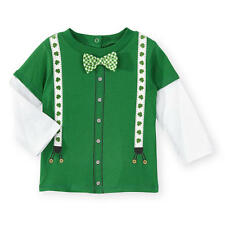 Koala Kids Button Down Layered Shirt with Bow Tie Detail & Shamrock Suspenders