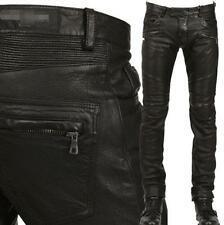 Punk Rock Mens Gothic PU Leather Motorcycle Slim Fit Biker Pants Trousers Black