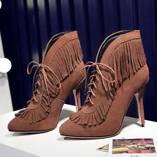 Womens Tassels Pointy Toe Lace Up Suede Fashion Chic Slim High Heel Boots Shoes