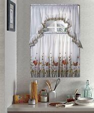 NEW Kitchen Window Curtain Fruit Basket Complete Tier & Swag Set