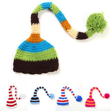 Newborn Baby Knit Hat Boy Girl Infant Crochet Beanie Long Tail Cap Photo 0-6M