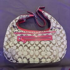 Authentic Coach Signature C Pattern Beige Canvas and Red Leather Handbag
