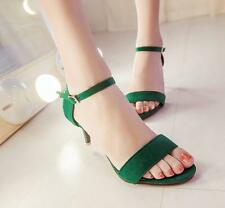 2017 Hot Womens High Heel Sandals Ladies Open Toe Faux Suede Ankle Strap Shoes
