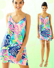 $198 Lilly Pulitzer Lela Exotic Garden Print Silk Slip Double V-Neck Dress