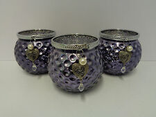 Village Candle Set Of 3 Glass Tealight Candle Holders Purple 20748
