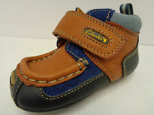 Boys Clarks First Shoes Navy/Tan Leather F/G Fitting Fraggle