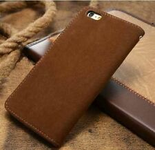 Magnetic Brown Magnetic Flip Wallet Swede Leather Case For iPhone 6 Plus {oi228